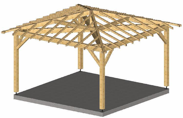 Plan charpente traditionnelle 4 pans